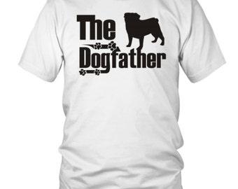 The Dogfather - Pug - T-Shirt - FREE SHIPPING Silver Writing Tshirt - Pug Dog Gift