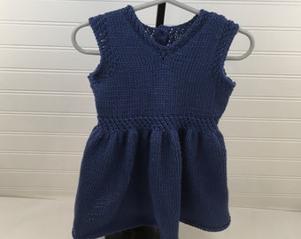 Blue Knit Baby Dress