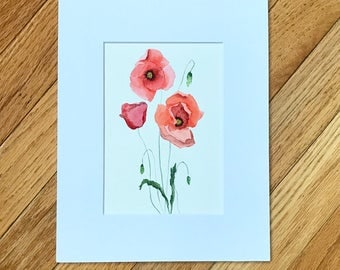 Poppy painting, Original Watercolor painting, Painting of red poppies, Poppy Flower, original painting, Floral art, small artwork