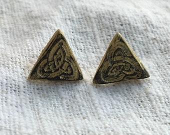 Celtic earrings, celtic jewelry, celtic knot earrings, irish earrings, celtic knot, minimal earrings, triangle earrings, viking earrings