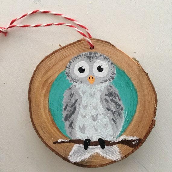 Owl Ornament - Christmas Ornament - Rustic wood Owl Ornament