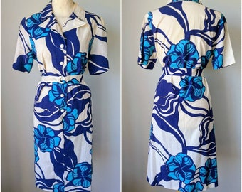 Swedish Cotton Hawaiian Tiki Print Dress