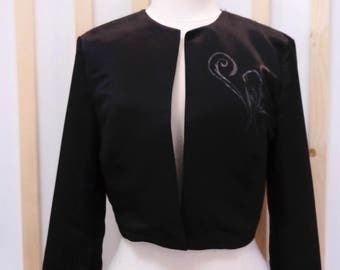 Bridal jacket, bridal blazer, satin bolero, satin jacket, black jacket, bridal jacket