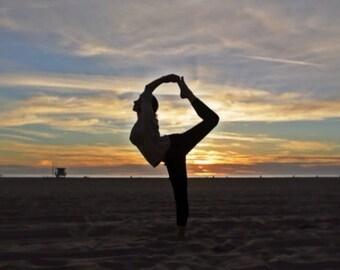 "Beach Yoga - Photo-on-canvas, printed/stretched/wrapped w/acrylic embellishments, 11""x14"", 5/8"" bars. Photo location: Hawaii"