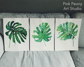 WATERCOLOR Trio set of tropical palm leaves 3 ORIGINAL watercolor paintings / Original tropical watercolor / tropical leaf / trio paintings