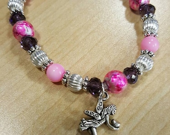 Pink and purple fairy stretch bracelet
