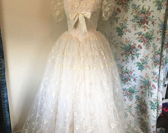 Vintage 1950s Lace Wedding Dress, Crinoline, and Veil