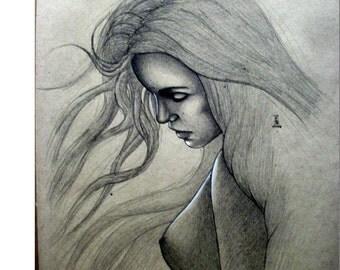 Figure study, portrait study, drawing, sketch, original art, figure drawing, figure sketch, fine art