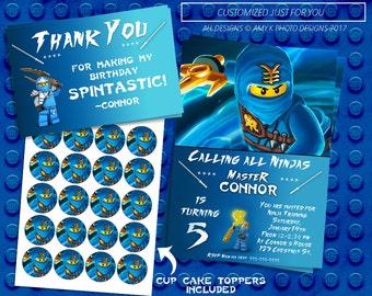 Ninjago Birthday kit, Ninjago Birthday Invitation, Ninja Lego Birthday Invitation, Ninja Birthday Invitation, Birthday Invitation