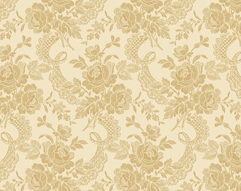 Tan Floral Fabric - Anna Griffin Ivory Etched Flower Fabric - Gold Flower Fabric