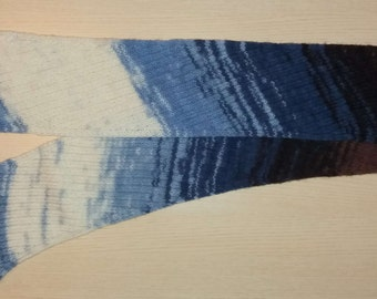 Knit mohair scarf, handmade, woman, 21 x 200 cm, 8.25 x 78.75 in, blue, white, brown colors, very soft and warm