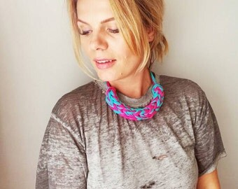 T Shirt Yarn Necklace Bubblegum, Blue and Pink Necklace, Upcycled Necklace