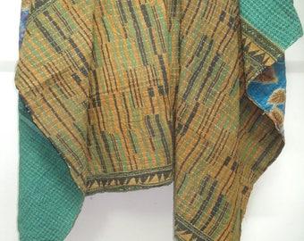 Indian Handmade Reversible Cotton Kantha Throw, Vintage Kantha Blanket, Kantha Quilt, Sari Throw Ralli Gudri, Floral Quilt