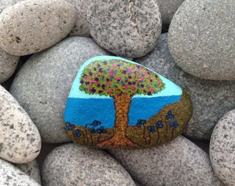 Hand painted stone, painted stone, housewarming gift, rock art, birthday present, tree art, painted rock, hand painted rock, tree painting