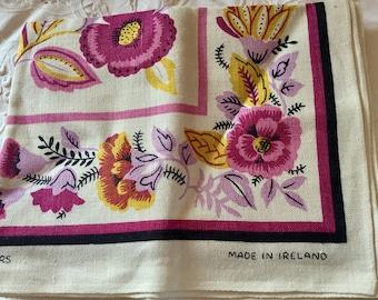 Vintage floral Irish linen towel