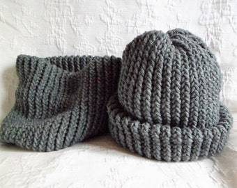 Set 1 cup + 1 snood scarf knitted child heather gray hand