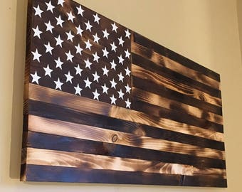 Burnt wooden American flag