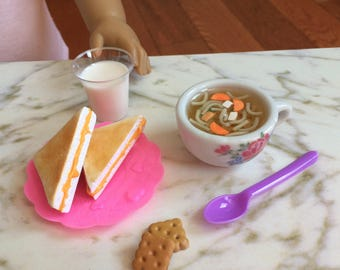 """Doll food for American Girl doll and 18"""" dolls,  1:3 scale lunch, cup of soup, grilled cheese sandwich, milk"""