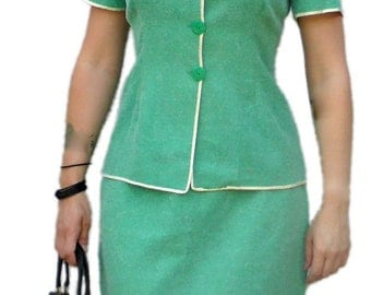1960s Turquoise Skirt Suit with White Trim S12 Madmen / Jackie O