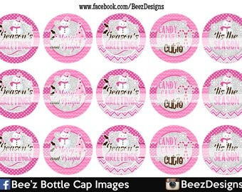 33% off SALE- INSTANT DOWNLOAD- Season's Greetings- 1inch Bottlecap Images- 4x6 Digital Collage Sheet