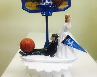 basketball couple wedding cake topper boston celtics sports fan basketball pulling groom 11101