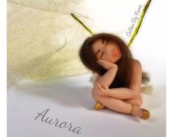 Polymer clay hand sculpt Ooak miniature brunette girl fairy