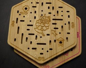 Bee labyrinth maze brain teaser wooden