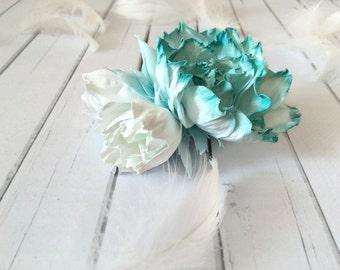 Turquoise hair flower Barrette for woman Flower hair accessories Flower barrette Turquoise flower accessory Flower Girl clip Floral hairpin