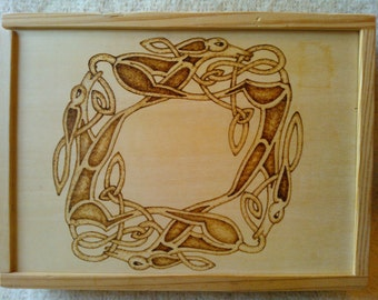 Celtic Hound Knotwork Pyrography Box