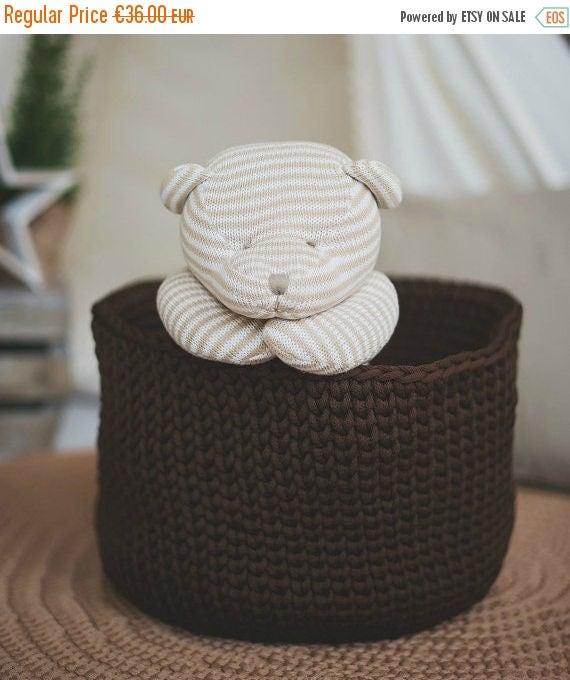 Large basket / toy storage basket / crochet basket / kids room decor / laundry basket / laundry room decor / new home gift