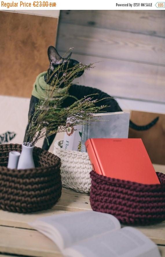 Set of 3 handmade baskets/ basket set/ gift basket/ storage bag/ housewarming gift/ new home gift/ home decor/ crochet basket