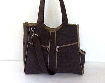 Dog carrier, Brown/Khaki, Water resistant nylon, women, shoulder bag, tote, dog carrier, cat carrier - LOLY