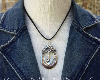 Fancy Oval n ILY Pendant Necklace with Black Suede Leather Cord (any color)