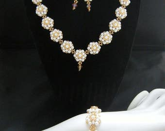 Rose Pearl Beaded Set