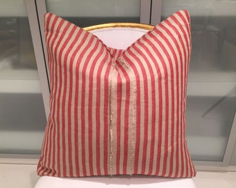 Rogers and Goffigon Red and tan linen stripe pillows with exposed selvage seam in the front center!