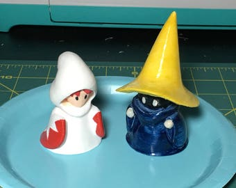 White and Black Mage Figures