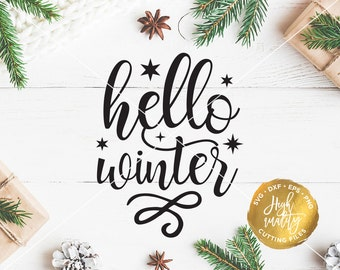 Hello Winter SVG DXF Cut File, Christmas SVG Cut File, Winter Svg Cut File, Holiday Svg, Christmas Lettering, Christmas Clipart, Cricut