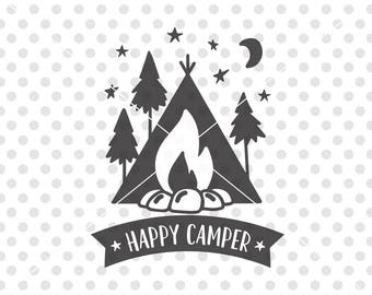 Happy Camper SVG DXF Cutting File, Camper Svg Cutting File, Camping Svg Cut File, Camper Vector, Camper Clip Art, Happy Campers Svg