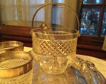 Vintage Clear Glass Ice Bucket with Handle