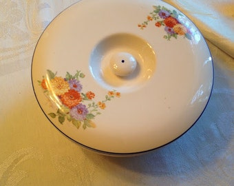 Vintage Lidded Flowered Casserole with blue trim and gold, orange and purple zinnias Universal Cambridge Oven Proof