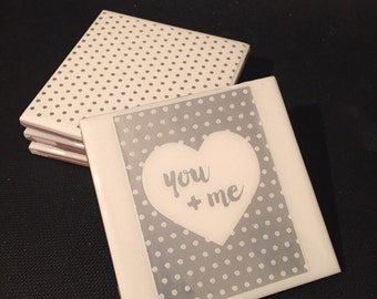 You and Me Coasters - Set of 4