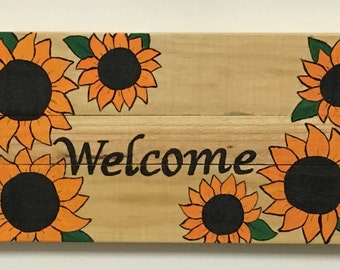 hand painted Sunflower welcome sign