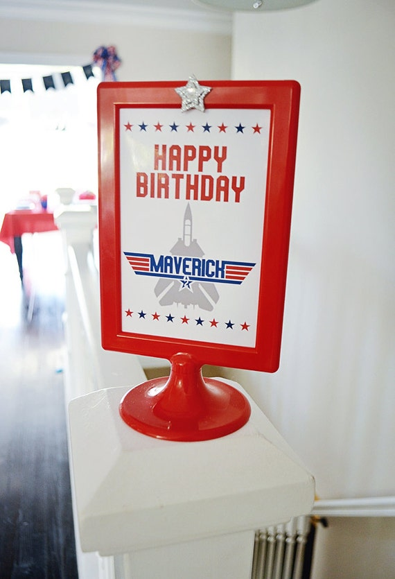 Top Gun 4 X 6 Table Top Sign Happy Birthday Maverick Top