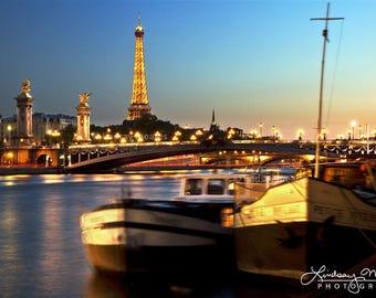 "Paris Wall Art   ""Evening On the Seine""   Paris Fine Art   Paris Photo - Seine Eiffel Tower - Paris Seine Photo - Paris Travel Photo"