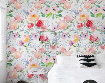 Dreamy floral wallpaper || Watercolor || Pastel || Soft wall mural || Reusable #69