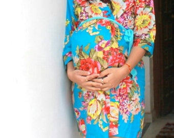 Blue Maternity robe delivery & feeding, child birth, Pregnancy and Labor, bridal shower gift, wrap around robe