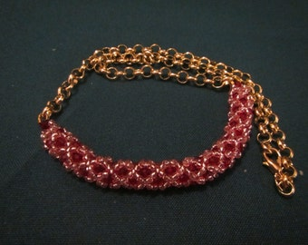right angle weave half netted necklace