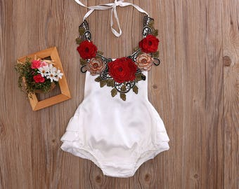 White Baby Romper with Red Applications Flowers