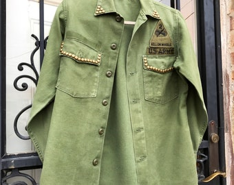 Vintage Hell On Wheels Army Military Shirt Jacket with Stud Detail