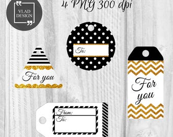 4 Printable Gold Glitter and Black Gifts Tags For you Gift Tags Any occasion gift tag Abstract Tags Holiday tags Gift for friend tags